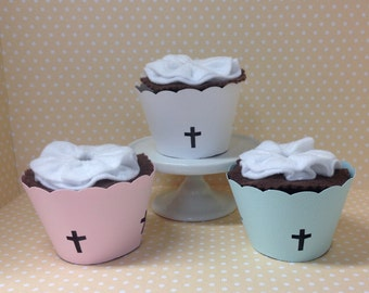 Christian Cross Baptism, First Communion or Confirmation Party Cupcake Wrappers - Set of 10