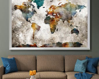 Large Wall Art Push Pin World Map, Push Pin, World Map, Wall Art Poster, Push Pin Map, Watercolor Wall Art, Pushpin World Map Print (L132)