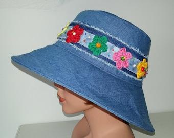 Summer Hat,Bucket Hat,  Sun Hat,  Denim, Garden Hat, Beach Hat, 70s,  Flower Power, Size: 57cm