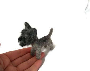 Custom Cairn terrier art - needle felted dog sculpture. - personalized terrier sculpture west - Cairn terrier dog sculpture - small size