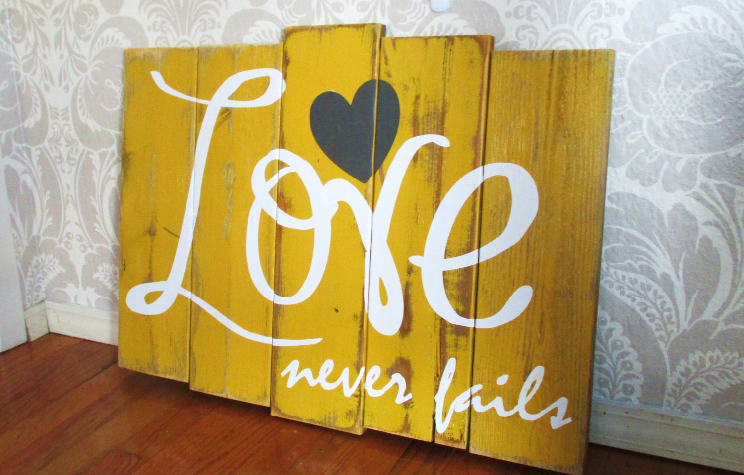 Large Love Never Fails Mustard Yellow Charcoal and White