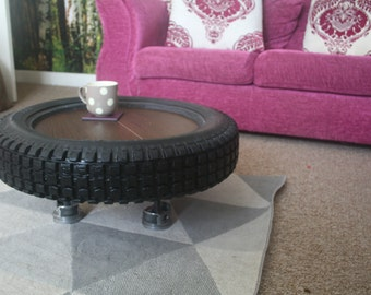 Repurposed Motocross Tyre Coffee table, upcycled Piston legs