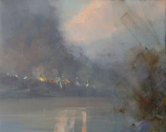 Abstract Art Plein Air Painting Landscape Oil Artwork, Grey Painting Winter Landscape Art Original
