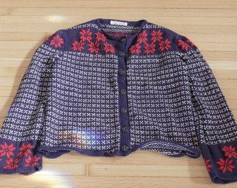 Vintage Women's Mable Rognlien Cardigan Sweater / Wool Acrylic / Ski / Christmas