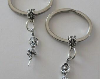 Sterling Silver 3D BALLERINA Key Ring - Key Chain - Key Holder - Arts, Dance
