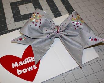 Gray fabric cheer bow with Swarovski Crystals