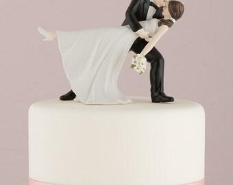 A Romantic Dip Funny Wedding Cake Topper Choose Hair Color