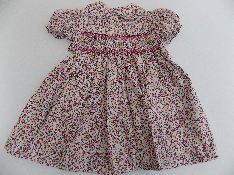smocked dress baby girl dress Peter Pan collar dress