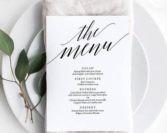 Printable Wedding Menu Template - Instant Download -Editable PDF - Minimalist Menu - Weddings and Party Menu - 5x7 inches - #GD0502
