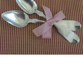Antique Coin Silver Spoons, Set Of Two, Collectible Spoons, Monogrammed, Wedding, Shower, Engagement