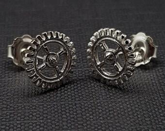 Steampunk Earrings, Cog earrings, Gear earrings, Silver earrings, Steampunk Jewellery, Steampunk Studs, SimplySteampunk, cosplay jewellery