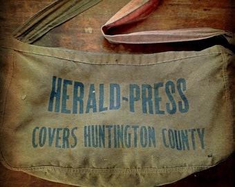 Vintage Indiana Newspaper Newsboy Delivery Shoulder Bag, Herald-Press, Huntington