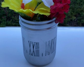 Personalized spray painted mason jar