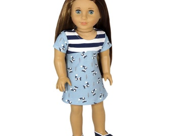 Fits Like American Girl Doll Clothes.  Blue and Navy Fox Dress. 18 Inch Doll Dress.
