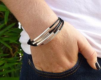 Silver Tube Bead Multi Strand Bracelet, Black Leather Bracelet for Women, Leather and Silver Bracelet, Leather Jewelry Cuff Bracelet