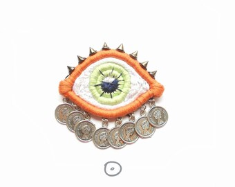 Statement Eye Brooch with charms for coat. Embroidered Orange and Green brooch art statement jewelry for blouse gift for eccentric women
