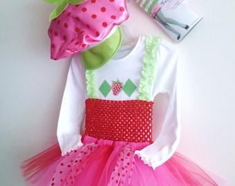 Girls Tutu Strawberry Shortcake (inspired) costume,tights &hat size 4 ,5 ,6 ,7, 8, 10