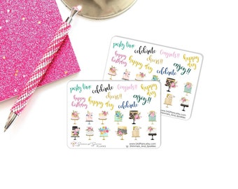 Celebration Cake Planner Stickers, Birthday Stickers,  Personal Planner Stickers // Decorative Stickers// for use in Erin Condren, HP, TN