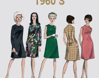 Vintage 1960s Mod A Line Dress Sewing Pattern Vogue Basic Dress Pattern 1678 Size 10 Bust 31