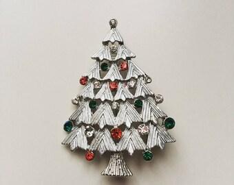 Vintage Christmas tree rhinestones silver tone brooch