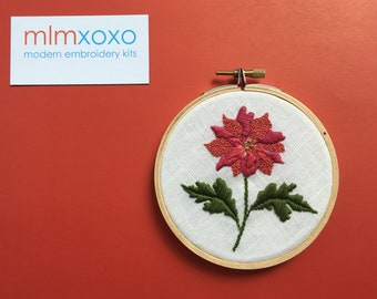 """Embroidery KIT by mlmxoxo.  Rose.  modern embroidery kit. nature lover's gift.  floral diy kit.  botanical.  4"""" hand embroidery hoop art kit"""