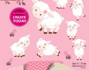 Cute Sheep Clipart Girl Lamb Pink