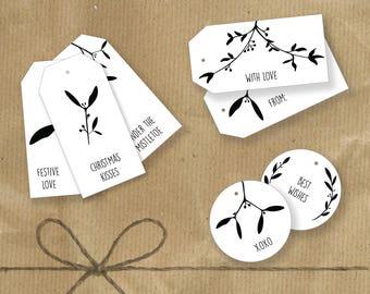 Printable Mistletoe Gift Tags - (7xDesigns)