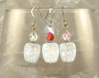 """CLEARANCE """"Crystal Face"""" Beaded Earrings -one pair- 2 color options"""