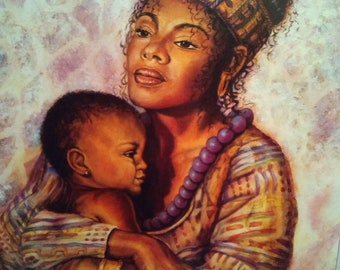 MOTHER AND CHILD Art Print by Jonnie Chardonn