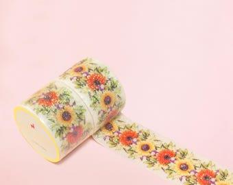 VINTAGE SPARKLING SUNFLOWER Washi Tape | Masking Tape | Korean Washi Tape | Deco Tape | Scrapbooking | Japanese Tape | Paper Tape | Diy