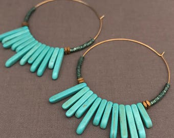morgan - turquoise spike hoop earrings