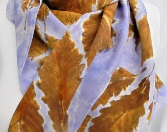 silk crepe scarf luxury hand painted Cabin Fever wearable art women copper amber brown lavender