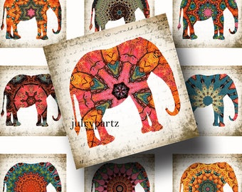 TEMPEST•1x1 Elephant Images•Printable Digital Images•Cards•Gift Tags•Stickers•Magnets•Digital Collage Sheet