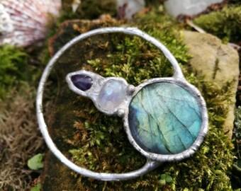 Balanced ~ labradorite, moonstone and amethyst zen necklace ~ handmade balancing rocks // hippie // boho // crystal jewelry // balance