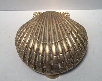 Vintage brass clam seashell door knocker