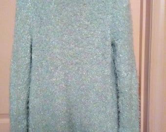 Vintage women's chenille look mint color cardigan