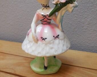 Vintage Japan Dancer Ballerina Holding Bouquet of flowers figurine