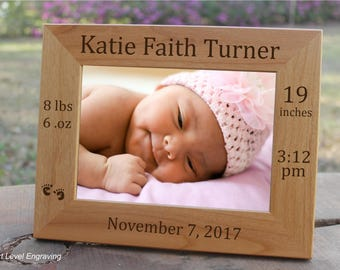 Baby Picture Frame, Baby Keepsake Gift Personalized Baby Stats Photo Frame, New Baby Gift, Engraved Birth Announcement Newborn Baby Girl Boy