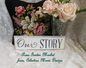 Our Story Sign, Hand Cut Wood, Hand Painted, Stenciled, Wall Art, Home Decor, Farmhouse Wall Sign, ECS