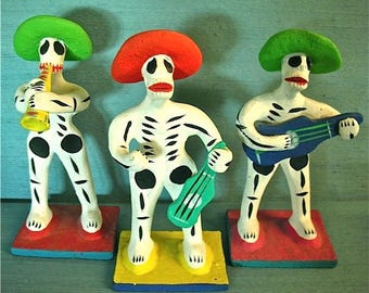 Vintage Dia de los Muertos (Day of the Dead) Skeleton Mariachis 1985-90