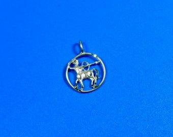 Sterling Silver Sagittarius Archer Round Pendant Astrology Sign