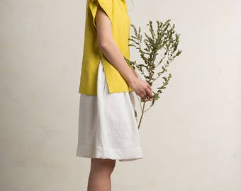 Linen blouse, Mustard blouse for woman, Natural top women, Yellow blouse, Green blouse, Summer top, Linen top women, Linen womens clothing