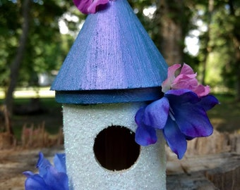 Iridescent white and purple Whimsical 6 and one half inch birdhouse