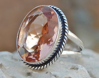 Morganite Quartz Ring, Peach Color Morganite Quartz sterling silver ring, Oval Faceted Quartz Solid silver ring Jewelry
