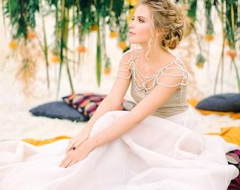 Wedding Shoulder Necklace, Pearl Shoulder Necklace, Wedding Necklace, Bridal Jewelry