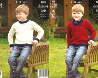 """King Cole Knitting Pattern 4023~Cabled Sweaters~DK~24-32"""""""