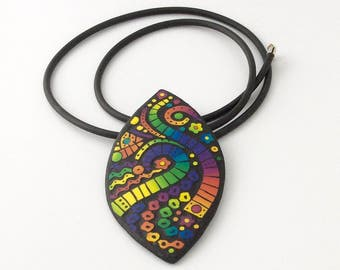 Mosaic polymer clay necklace. Mosaic rainbow polymer clay pendant. Handmade jewelry. Colorful necklace, pendant.