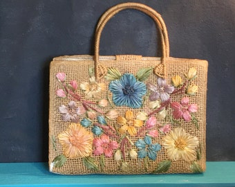 Vintage Straw Beach Bag Beach Tote Flowers Bags by Patricia