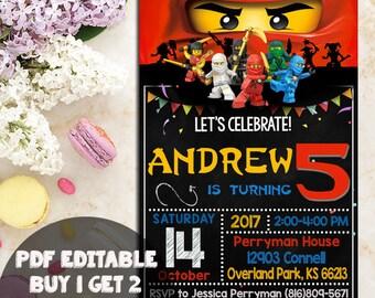 Instant Download-Ninjago Invitation,Ninjago Birthday,Ninjago Invitation,Ninjago Party, Lego Ninjago Invitation, Lego Ninjago PDF Editable