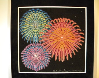 The Beauty of Fireworks - Counted Cross Stitch and Needle Point Chart Patterns